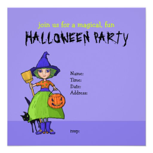 Little Witch purple Halloween Party Invitation