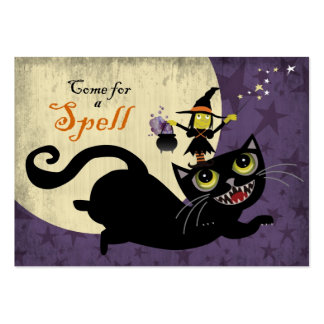 Little Witch Riding on a Flying Black Cat Business Cards