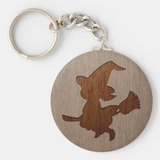 Little witch silhouette engraved on wood effect key ring
