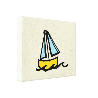 little wobblies sailboat stretched canvas print