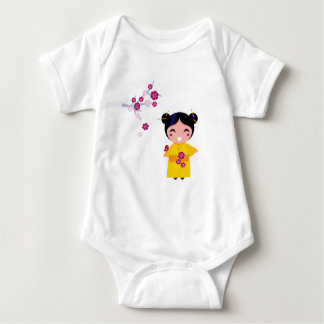 Little yellow Geisha on white Baby Bodysuit