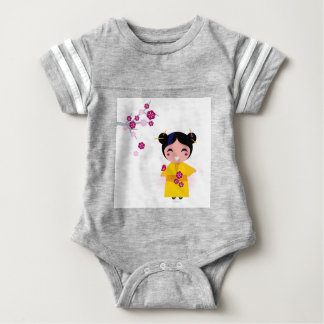 Little yellow Geisha on white Baby Bodysuit