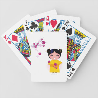 Little yellow Geisha on white Bicycle Playing Cards