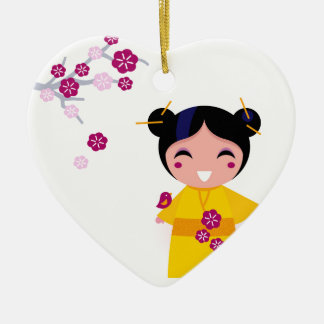 Little yellow Geisha on white Ceramic Ornament