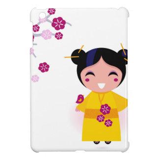Little yellow Geisha on white Cover For The iPad Mini