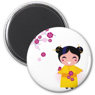 Little yellow Geisha on white Magnet