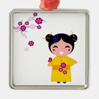 Little yellow Geisha on white Metal Ornament