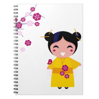 Little yellow Geisha on white Spiral Notebook