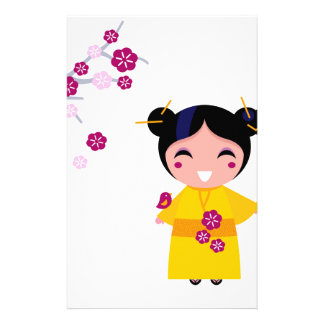 Little yellow Geisha on white Stationery