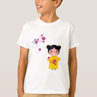 Little yellow Geisha on white T-Shirt