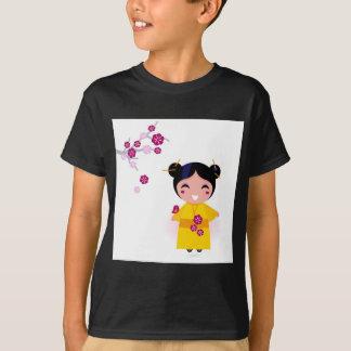 Little yellow Geisha on white T-Shirt