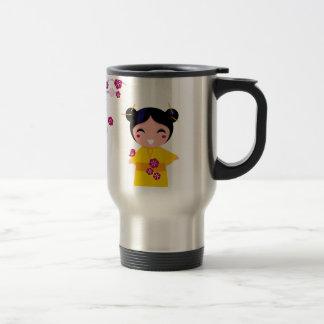 Little yellow Geisha on white Travel Mug