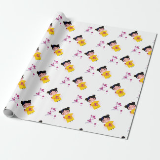Little yellow Geisha on white Wrapping Paper