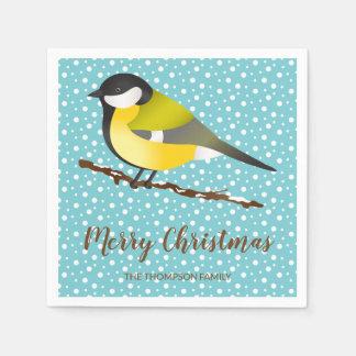 Little Yellow Winter Bird & Merry Christmas Text Paper Serviettes