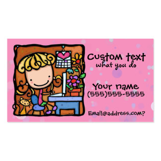 LittleGirlie designer writer bookkeeper cutie PNK Double-Sided Standard Business Cards (Pack Of 100)