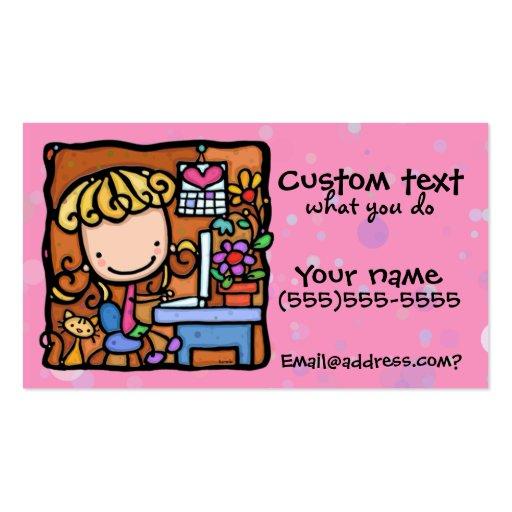LittleGirlie designer writer bookkeeper cutie PNK Business Card Template