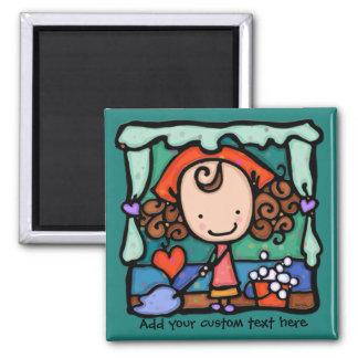LittleGirlie is a clean freak! TEAL Square Magnet