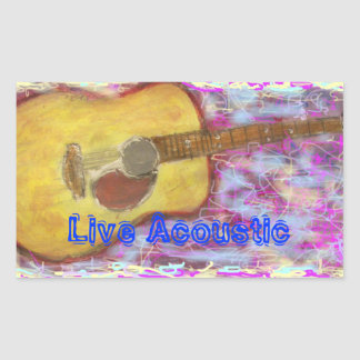 Live Acoustic Guitar Rectangular Sticker