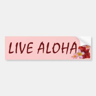Live Aloha pink Hawaiian floral bumpersticker Bumper Sticker