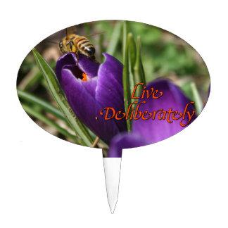 Live Deliberately w/honey bee pollinating Crocus Cake Topper