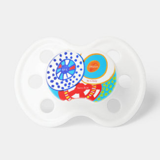 Live Dream Be Crazy Have Fun Colorful Doodle Baby Pacifiers