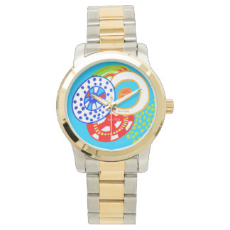 Live Dream Be Crazy Have Fun Colorful Doodle Wrist Watches
