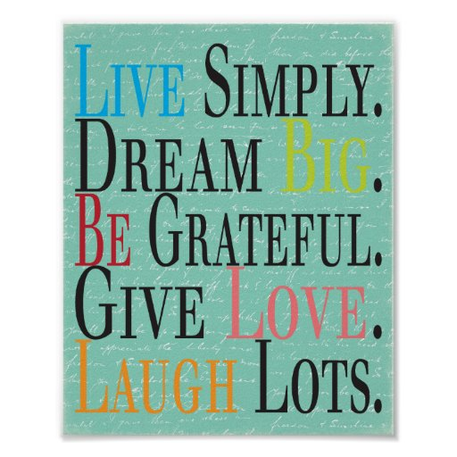 Live, Dream, Be, Give, Laugh Print