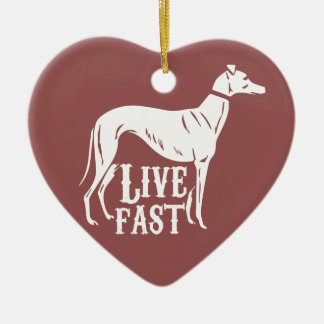 Live Fast Ceramic Heart Decoration