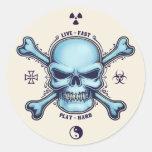 Live Fast, Play Hard Round Sticker