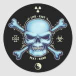 Live Fast, Play Hard Round Stickers