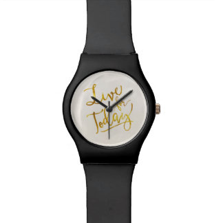 Live for Today Gold Faux Foil Metallic Motivationa Wristwatch