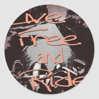 Live Free And Ride framed Round Stickers