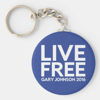 Live Free Basic Round Button Key Ring