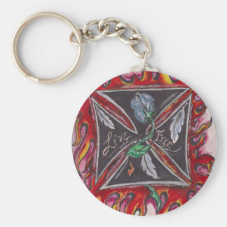 Live Free Iron Cross Basic Round Button Key Ring