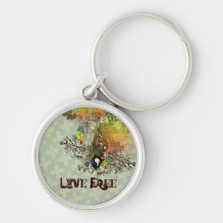 Live Free Silver-Colored Round Key Ring
