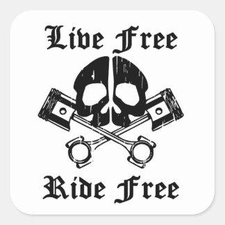 Live Free Ride Free Gear Skull Square Sticker