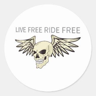 LIVE FREE RIDE FREE ROUND STICKER