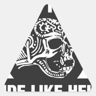 Live free ride like hell triangle sticker