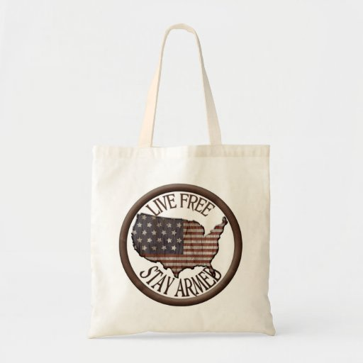 Live Free Stay Armed patriotic reusable bag