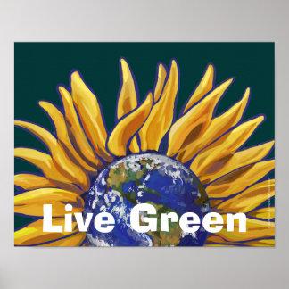 Live Green Earth Sunflower Poster