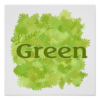 live green flowers poster