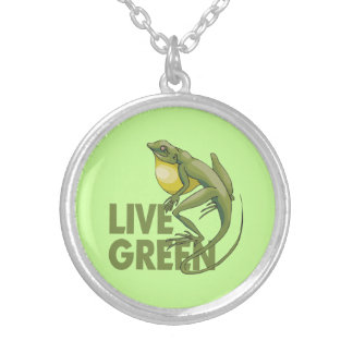 Live Green, Lizard Personalized Necklace
