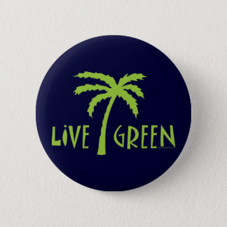 Live Green Palm Tree Environmental 6 Cm Round Badge