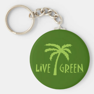 Live Green Palm Tree Environmental Basic Round Button Key Ring