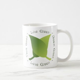 Live green, think green, dream green, love green coffee mugs