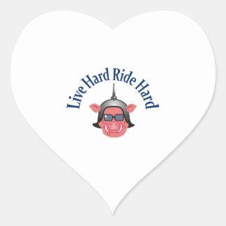 LIVE HARD RIDE HARD HEART STICKER
