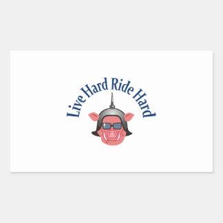 LIVE HARD RIDE HARD RECTANGULAR STICKER