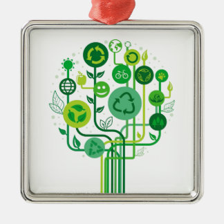 Live Healthy Collection Silver-Colored Square Decoration