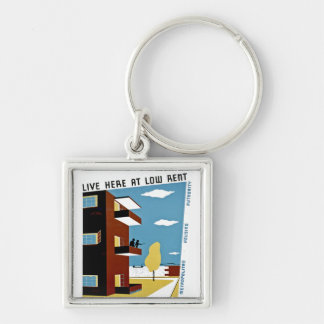 Live Here at Low Rent Keychains