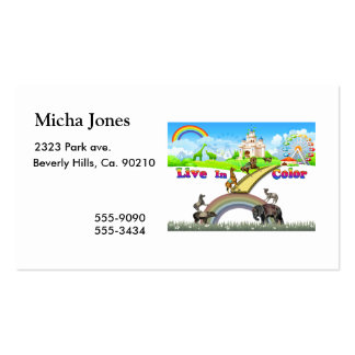 Live In Color Vintage Circus Animals Team Work Business Card
